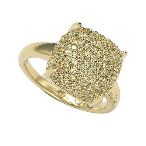 Suzy Levian Pave Yellow Cubic Zirconia in Golden Sterling Silver Ring