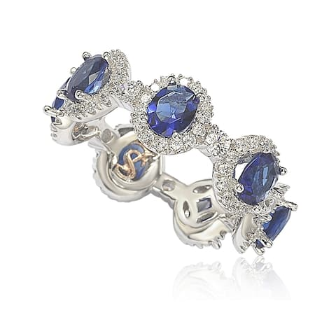 Suzy L. Oval-Cut Blue Sapphire Cubic Zirconia in Sterling Silver Stackable Band