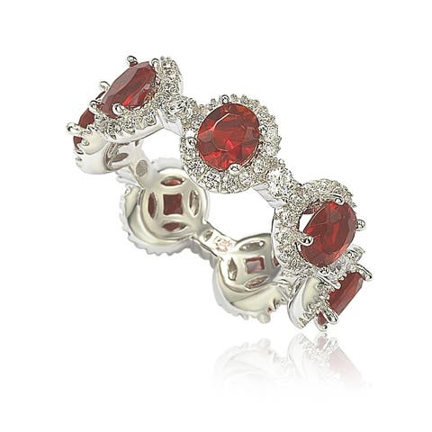 Suzy Levian Oval-Cut Ruby Red Cubic Zirconia in Sterling Silver Stackable Band