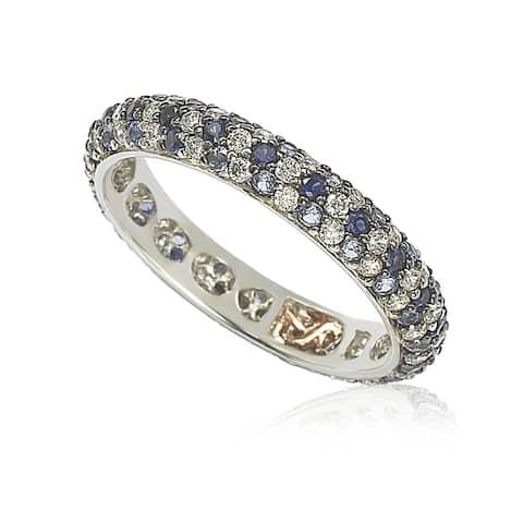 Suzy L. Natural Sapphire & Diamond Accent Pave Eternity Band
