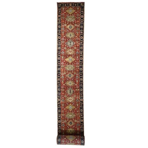 "Shahbanu Rugs Red Karajeh Design Runner Pure Wool Hand-Knotted Oriental Rug (2'7"" x 23'10"") - 2'7"" x 23'10"""