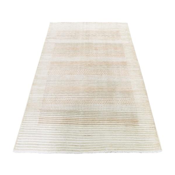 "Shahbanu Rugs Striped Modern Gabbeh Hand Knotted Raised Pile Pure Wool Oriental Rug (4'0"" x 6'0"") - 4'0"" x 6'0"""