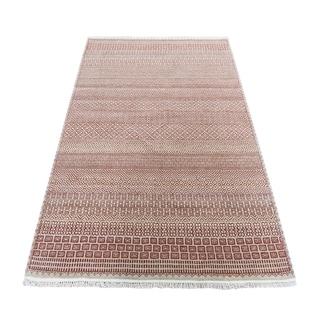 "Shahbanu Rugs Red Modern Gabbeh Hand Knotted Grass Design Oriental Rug (4'2"" x 6'0"") - 4'2"" x 6'0"""