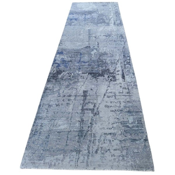 "Shahbanu Rugs Abstract Design Hi-Low Pile Wool And Silk Hand-Knotted Runner Oriental Rug (2'8"" x 11'6"") - 2'8"" x 11'6"""