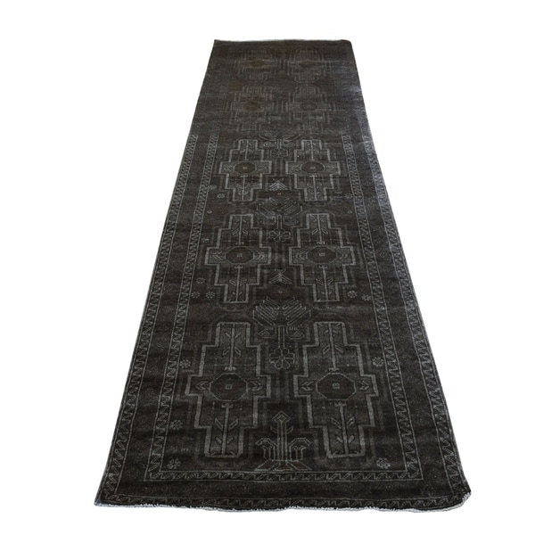 "Shahbanu Rugs Washed Out Afghan Baluch With Natural Colors Pure Wool Runner Hand-Knotted Oriental Rug (3'0"" x 9'2"")"