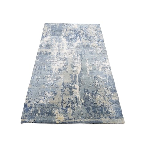 "Shahbanu Rugs Blue-Gray Abstract Design Wool and Pure Silk Hand-Knotted Oriental Runner Rug (2'7"" x 6'1"") - 2'7"" x 6'1"""