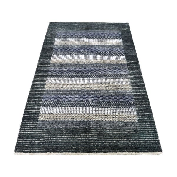 "Shahbanu Rugs Pure Wool Striped Peshawar Gabbeh Hand Knotted Oriental Rug (4'0"" x 5'10"") - 4'0"" x 5'10"""