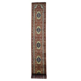 "Link to Shahbanu Rugs Red Antiqued Heriz Pure Wool Hand Knotted XL Runner Oriental Rug (2'7"" x 15'7"") - 2'7"" x 15'7"" Similar Items in Rugs"