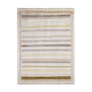 """Shahbanu Rugs Hand Knotted Striped Gabbeh Pure Wool Oriental Rug (4'10"""" x 6'4"""") - 4'10"""" x 6'4"""""""