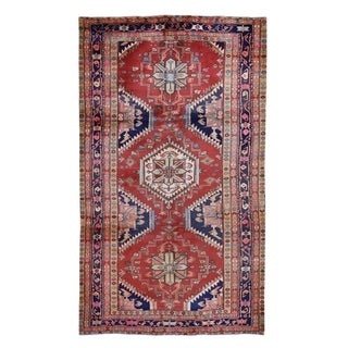"Shahbanu Rugs Red Vintage Persian Heriz Pure Wool Wide Runner Hand-Knotted Oriental Rug (5'0"" x 10'1"") - 5'0"" x 10'1"""