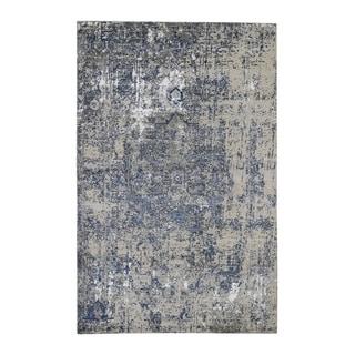 "Shahbanu Rugs Blue-Gray Erased Heriz Design Wool and Silk Hand-Knotted Fine Oriental Rug (6'1"" x 9'1"") - 6'1"" x 9'1"""