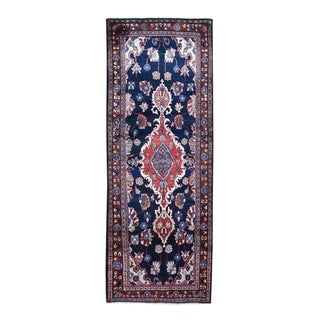 """Shahbanu Rugs Navy Blue Vintage Persian Mahal Design Exc Condition Wide Runner Hand Knotted Oriental Rug (3'5"""" x 10'0"""")"""