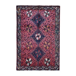 "Shahbanu Rugs Red New Persian Shiraz With Little Animals Figures Hand Knotted Oriental Rug  (5'8"" x 8'4"") - 5'8"" x 8'4"""