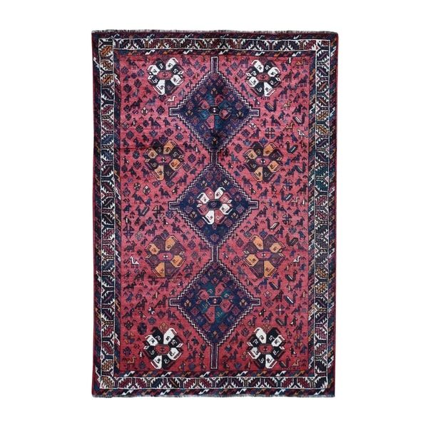 """Shahbanu Rugs Red New Persian Shiraz With Little Animals Figures Hand Knotted Oriental Rug (5'8"""" x 8'4"""") - 5'8"""" x 8'4"""""""
