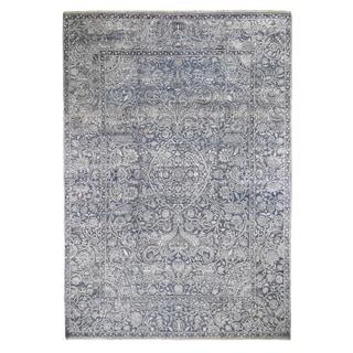 "Shahbanu Rugs Mughal Inspired Design Real Silk with Textured Wool Oriental Rug (10'0"" x 14'0"") - 10'0"" x 14'0"""