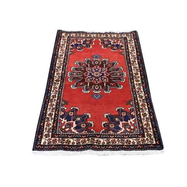 """Shahbanu Rugs Red New Persian Bakhtiari Pure Wool Hand Knotted Oriental Rug (3'0"""" x 4'0"""") - 3'0"""" x 4'0"""""""