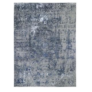 "Shahbanu Rugs Blue-Gray Erased Heriz Design Wool and Silk Hand-Knotted Fine Oriental Rug (9'0"" x 12'0"") - 9'0"" x 12'0"""