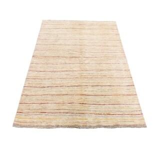 "Shahbanu Rugs Peshawar Gabbeh Pure Wool Hand Knotted Oriental Rug (4'1"" x 5'1"") - 4'1"" x 5'1"""