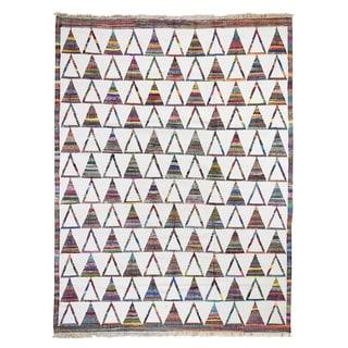 "Shahbanu Rugs Reversible Durie Kilim Cotton And Sari Silk  Rug Hand Woven Oriental Rug  (8'8"" x 11'7"") - 8'8"" x 11'7"""