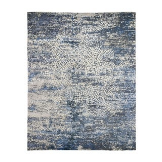 "Shahbanu Rugs Blue Wool And Pure Silk Erased Roman Mosaic Design hand Knotted Oriental Rug (8'0"" x 10'2"") - 8'0"" x 10'2"""