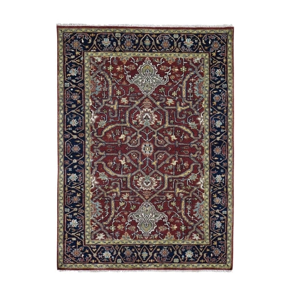 """Shahbanu Rugs Red Heriz Revival Pure Wool Hand Knotted Oriental Rug (4'10"""" x 7'5"""") - 4'10"""" x 7'5"""""""