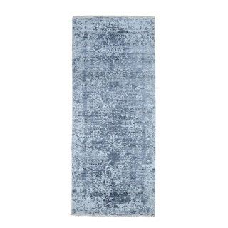 "Shahbanu Rugs Hand-Knotted Broken Persian Design Wool And Pure Silk Grey Oriental Runner Rug (2'7"" x 7'10"") - 2'7"" x 7'10"""