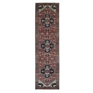 "Shahbanu Rugs Red Heriz Revival Pure Wool Hand Knotted Runner Oriental Rug (2'5"" x 11'9"") - 2'5"" x 11'9"""