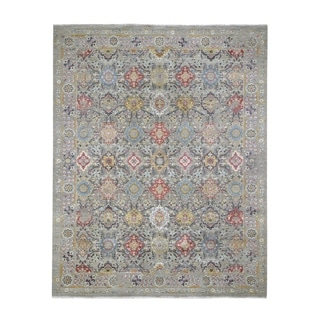 "Shahbanu Rugs THE SUNSET ROSETTES Pure Silk and Wool Hand-Knotted Oriental Rug (8'1"" x 10'1"") - 8'1"" x 10'1"""