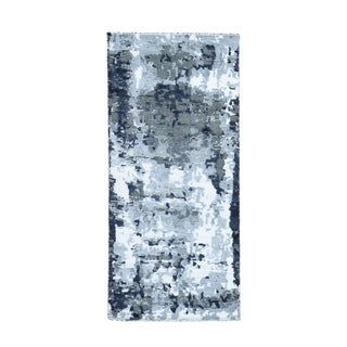 """Shahbanu Rugs Hi-Low Pile Abstract Design Wool And Silk Runner Hand Knotted Oriental Rug  (2'6"""" x 5'10"""") - 2'6"""" x 5'10"""""""