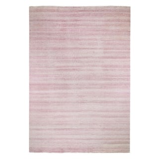 "Shahbanu Rugs Pink Grass Design Gabbeh Wool and Silk Hand Knotted Oriental Rug (10'0"" x 13'10"") - 10'0"" x 13'10"""