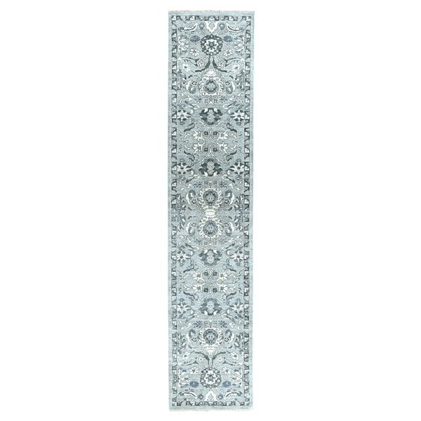 """Shahbanu Rugs Undyed Natural Wool Mahal Design Runner Hand Knotted Oriental Rug (2'5"""" x 11'7"""") - 2'5"""" x 11'7"""""""