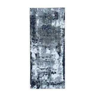 """Shahbanu Rugs Hi-Low Pile Abstract Design Wool And Silk Runner Hand Knotted Oriental Rug  (2'6"""" x 7'7"""") - 2'6"""" x 7'7"""""""