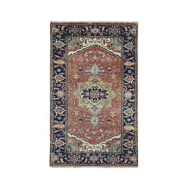 """Shahbanu Rugs Antiqued Heriz Re Creation Pure Wool Hand knotted Oriental Rug (3'1"""" x 5'3"""") - 3'1"""" x 5'3"""""""