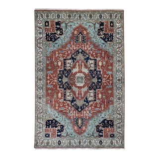 """Shahbanu Rugs Red Heriz Revival Pure Wool Hand Knotted Oriental Rug (5'8"""" x 8'8"""") - 5'8"""" x 8'8"""""""