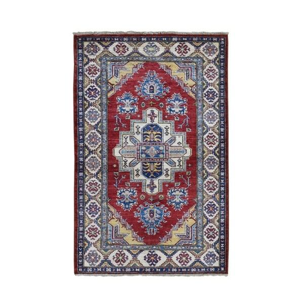 "Shahbanu Rugs Red Super Kazak With Heriz Design Pure Wool Hand Knotted Oriental Rug (3'4"" x 5'2"") - 3'4"" x 5'2"""