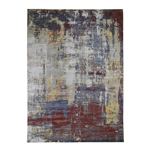 """Shahbanu Rugs Rust Abstract Design Wool and Silk Hand-Knotted Oriental Rug (10'2"""" x 13'10"""") - 10'2"""" x 13'10"""""""