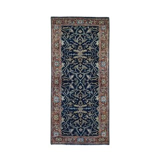 "Shahbanu Rugs Antiqued Heriz Re Creation All Over Design Runner Pure Wool Hand Knotted Oriental Rug (2'6"" x 6'0"") - 2'6"" x 6'0"""