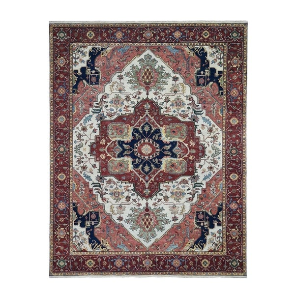 """Shahbanu Rugs Red Antiqued Heriz Re-Creation Pure Wool Hand Knotted Oriental Rug (8'2"""" x 10'2"""") - 8'2"""" x 10'2"""""""
