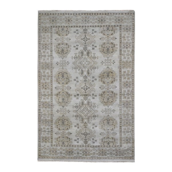 "Shahbanu Rugs Turkish Knot Oushak Design Hand-Knotted Pure Wool Oriental Rug (6'1"" x 9'0"") - 6'1"" x 9'0"""