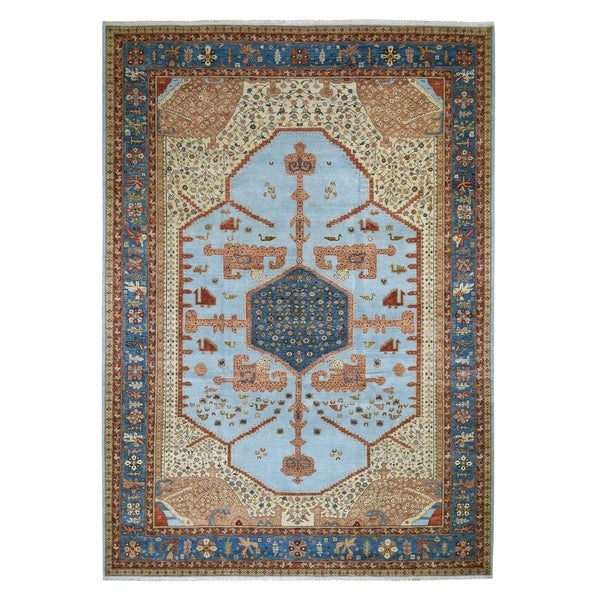 "Shahbanu Rugs Hand Knotted Antiqued Bakshaish Natural Dyes Oriental Rug (9'10"" x 13'9"") - 9'10"" x 13'9"""