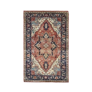"Shahbanu Rugs Antiqued Heriz Re-creation Pure Wool Hand Knotted Oriental Rug (3'1"" x 5'3"") - 3'1"" x 5'3"""