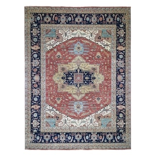 """Shahbanu Rugs Oversized  Pure Wool Antiqued Heriz Re creation Hand Knotted Oriental Rug (12'0"""" x 15'1"""") - 12'0"""" x 15'1"""""""