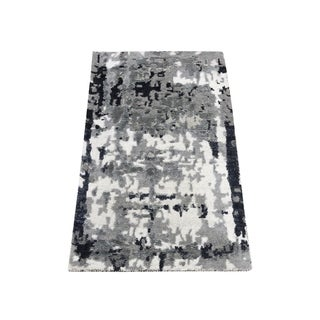 """Shahbanu Rugs Black Abstract Design Hi-Lo Pile Wool And Silk Hand-Knotted Oriental Rug (2'1"""" x 3'0"""") - 2'1"""" x 3'0"""""""