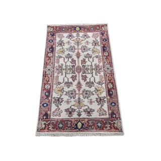 """Shahbanu Rugs Ivory Heriz Revival All Over Design Pure Wool Hand Knotted Oriental Rug (1'10"""" x 3'0"""") - 1'10"""" x 3'0"""""""