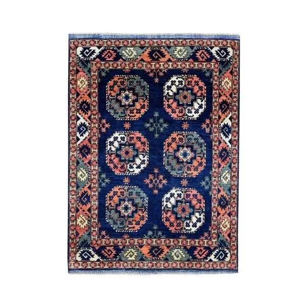 "Shahbanu Rugs Afghan Ersari Elephant Feet Design Pure Wool Hand-Knotted Oriental Rug (5'0"" x 6'3"") - 5'0"" x 6'3"""