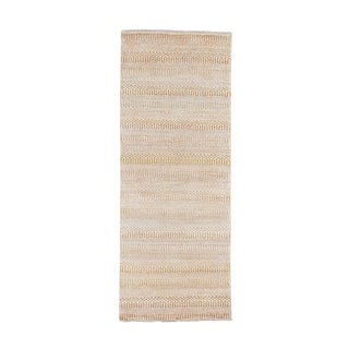 "Shahbanu Rugs Yellow Grass Design Gabbeh Wool and Silk Runner Hand-Knotted Oriental Rug (2'6"" x 7'10"") - 2'6"" x 7'10"""