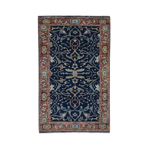 """Shahbanu Rugs Antiqued Heriz Re Creation All Over Design Pure Wool Hand Knotted Oriental Rug (3'0"""" x 5'3"""") - 3'0"""" x 5'3"""""""