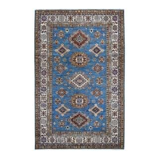 "Shahbanu Rugs Blue Super Kazak Geometric Design Pure Wool Hand-Knotted Oriental Rug (5'8"" x 8'6"") - 5'8"" x 8'6"""