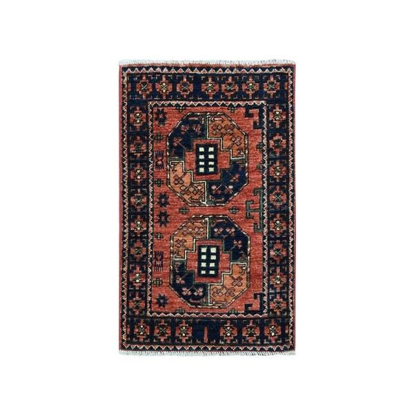 "Shahbanu Rugs Afghan Ersari Elephant Feet Design Pure Wool Hand Knotted Oriental Rug (2'0"" x 3'0"") - 2'0"" x 3'0"""