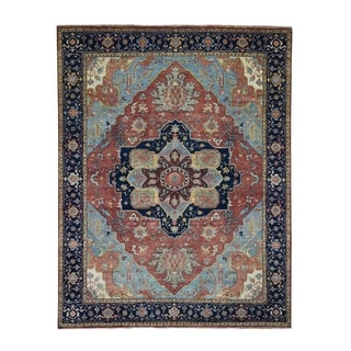 """Shahbanu Rugs Antiqued Heriz Re-creation Pure Wool Hand Knotted Oriental Rug (8'0"""" x 10'0"""") - 8'0"""" x 10'0"""""""